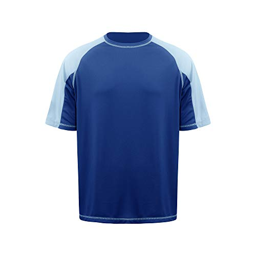Men's Basic Skins UPF Protection Short Sleeve Rash Guard Swim Shirt(Mazarine Blue,XXL)