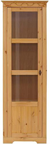 Loft 24 A/S Vitrine Landhaus Vitrinenschrank Standvitrine Glasvitrine Küche Glastür Kiefer massivholz (gebeizt geölt, 1 Tür Links)
