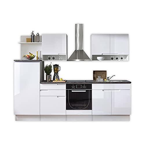 Stella Trading Spice Moderne Küchenzeile ohne Elektrogeräte in Weiß Hochglanz - Geräumige Einbauküche mit viel Platz und Stauraum - 270 x 204 x 60 cm (B/H/T)