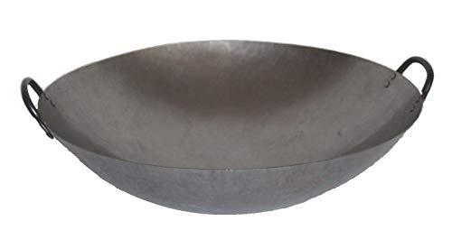 Asia Art Factory AAF Nommel ® Wok Ölwanne ca. 45 cm Durchmesser mit 2 Griffen/Henkeln mit rundem Boden für Gas, Gastronomie
