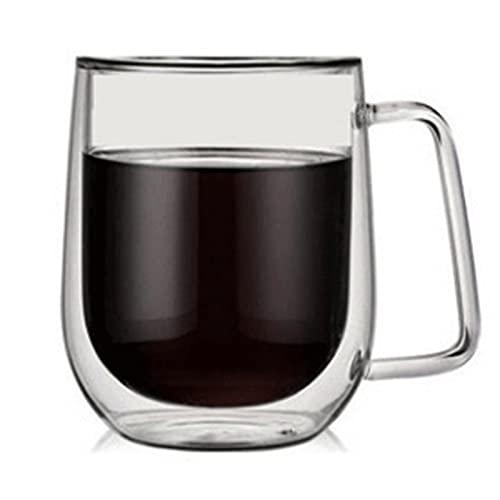 WANGLX Tazas de Café de Vidrio Tazas de Café, Vasos para Beber Té de Café, Tazas de Vidrio Aislante de Doble Pared con Asa Grande,380mIsinglecup