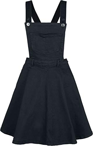 Hell Bunny Damen Latzkleid Dakota Pinafore (Schwarz, Medium)