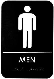 Alpine Industries Men's Braille Restroom Sign - Durable Quality Self Stick Washroom/Bathroom Door Placard w/Embossed Braille Lettering & Symbol for Restaurants, Businesses & Hotels