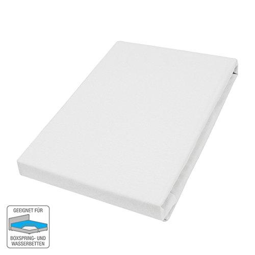 Elastan fijn jersey hoeslaken afmetingen: 150 cm x 200 cm, kleur: wit