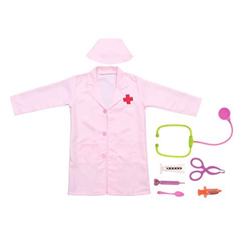 Toyvian Disfraz de Enfermera Infantil con Abrigo Y Kit de Herramientas Médicas Juego de Vestir de Enfermera Juego de Ropa de Dentista para Niños para Niñas Talla Rosa S