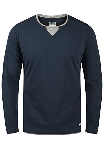 Blend Leonas Herren Longsleeve Langarmshirt Shirt mit Rundhals-Ausschnitt und Double Layer V-Neck Look, Größe:M, Farbe:Navy (70230)