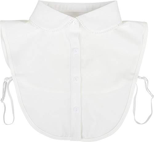 styleBREAKER Damen Blusenkragen Einsatz mit Mäusezahnspitze gesäumt und Knopfleiste, Kragen für Blusen und Pullover, Vintage Style 08020007, Farbe:Weiß