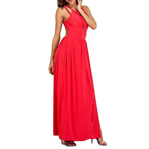 Lialbert Camisole-Kleid äRmelloses Ballkleid Dame Kaftan Boho Gerafftem Maxikleider Stickerei Freizeitkleid SchnüRung RüSchen Swing-Kleid Schwingendes Kleider Rot