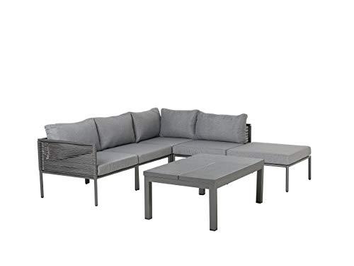 Beliani Aluminium Lounge Gartenmöbel Set für 6 Personen mit Auflagen in Grau Forano