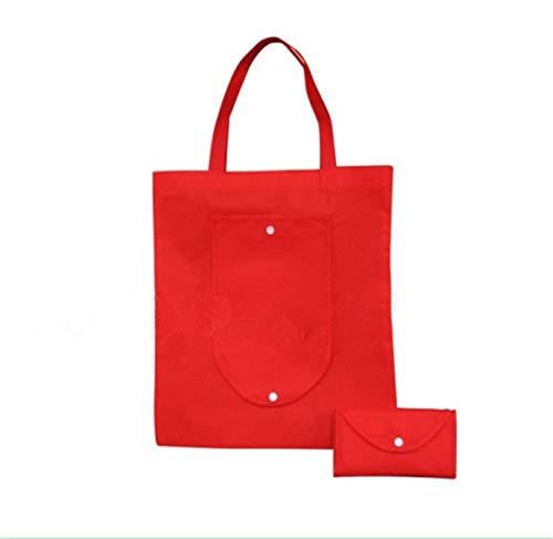 Aufbewahrungsbeutel Organizer Faltbare Einkaufstasche, Wiederverwendbare Non-Woven-Umhängetasche Tote Bag-Einkaufstüte, for Shopping/im Freien (2 Stück) (Color : Red)