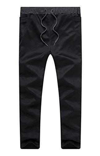 Vionr Boy's Slim Fit Skinny Cotton Running Jogger Pants Black 8