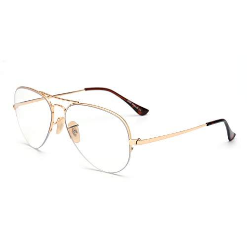 Bloqueo Luz Azul Gafas Computadora Retro Sin Marco Vídeo Anteojos Reduce Fatiga Visual Anti Deslumbramiento Lente Claro Hombre Mujer Dorado