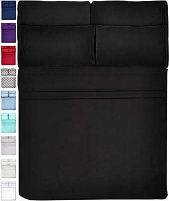 6 Piece Extra Deep Pocket Sheets Microfiber Sheets Bed Sheets Bedding Sets Full Size, Black