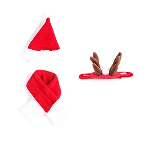 Balacoo 3 Stücke Katze Weihnachten Kostüm mit Rot Schal Rentier Geweih Hut Haarreif Haustier Weihnachtsmütze Nikolausmütze Hunde Weihnachtskostüm für Kleine Hunde
