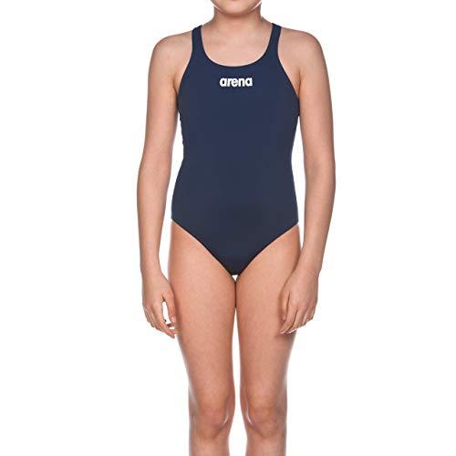 arena Mädchen Trainings Badeanzug Solid Swim Pro, Blau (Navy/Weiß), Gr. 140 (10/11 Jahre)