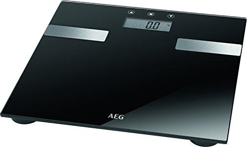 AEG PW 5644 FA - Báscula de análisis corporal de 7 funciones, de cristal y acero inoxidable, color negro