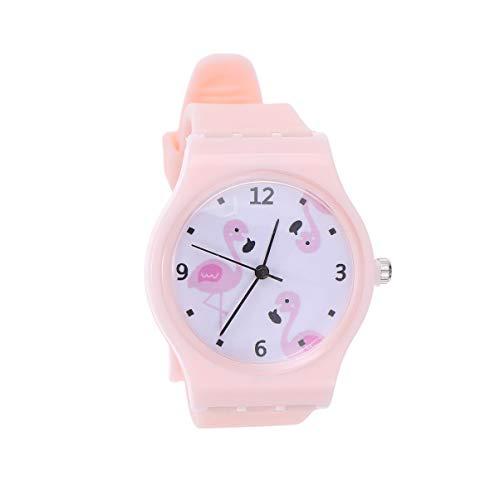 HEMOBLLO Kinder Fenicottero Modell Armbanduhr aus Silikon für Mädchen, Geschenke (Rosa)
