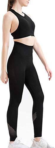 Zweiteilige Outfits für Damen - Sport-BHs mit hoher Taille, Leggings, Workout-Kleidung für Yoga und Fitnessstudio.A6-schwarz S