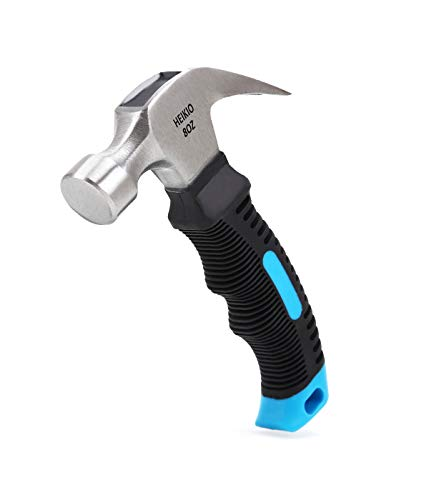 8OZ Hammer by HEIKIO, Quality Polished Beater Head, Eco-friendly TPR Stubby Handle, Ideal for Household Work and Outdoor Camping