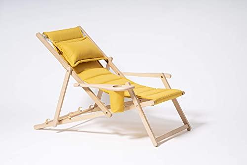 MyDeer Holz Liegestuhl klappbar, Lounge Sessel mit Kissen, Sonnenliege für...