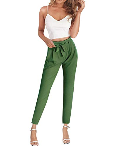 FANCYINN Jumpsuit Zweiteiler Damen 2 Teiler Crop Top und Hose Elegant Party Sommer Outfits (Grün, S)