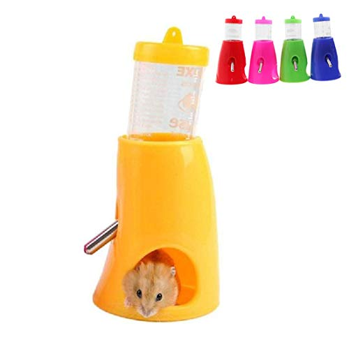 Yiteng ハムスター ボトル 給水器 リス モモンガ 水飲み器 水漏れ防止機能付き 便利 取り付け簡単 小動物用品 飼育ケージ内装 小動物の隠れ家 プラスチック製 (イエロー)