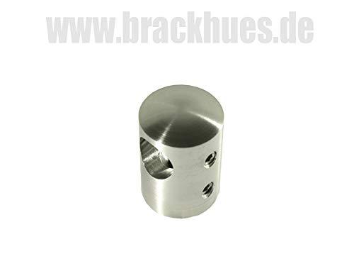 Querstabhalter V2A Edelstahl für Ø12mm Stäbe mit geradem Anschluß an Vierkantohr