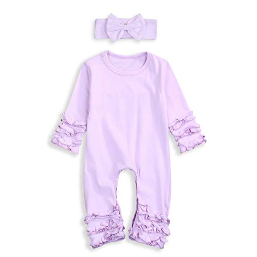 Newborn Baby Girls Fold Ruffle Jumpsuit Solid Romper Long Sleeve Pajamas Set Coming Home Outfits+Headband (Purple, Newborn)