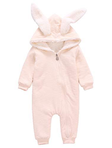 Odziezet Baby-Strampler mit langen Ärmeln und Kaninchen-Kapuze, 0-18 Monate 0- 3 Monate