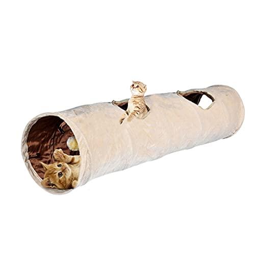 Bverionant Túnel para Gatos Plegable Extensible Juguete con Pompón y 2 Agujeros para Gato Conejos Cachorros Divertido Juego Juguete Tubo de Gatos Refugio Casa del Laberinto de Mascotas 120 x 25 cm