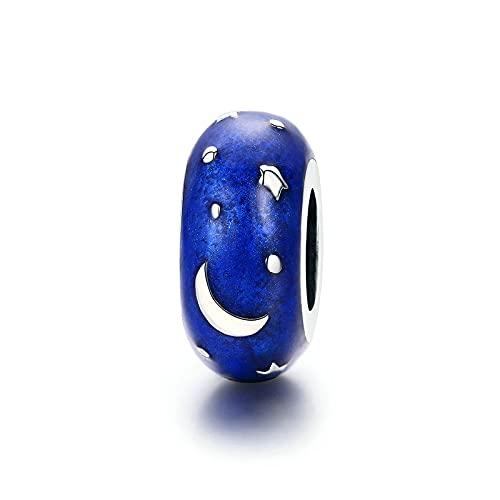 925 Sterling Silver Starry Sky Spacer Stopper Beads Fit Original Charm Bracelet
