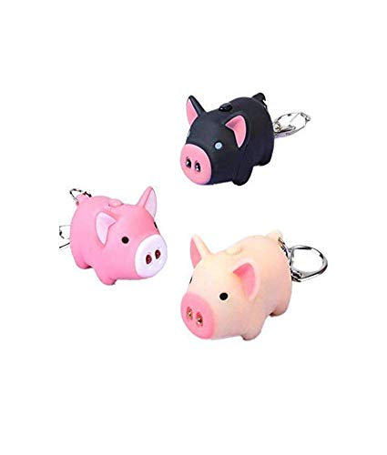 Gwill Lot de 3 porte-clés à LED en forme de cochon - 3 couleurs - Pour enfants