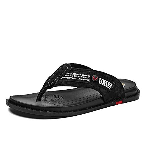 Chanclas de verano de los hombres del desgaste externo sandalias de cuero de microfibra ocasionales de la playa, 54, JD-T010 negro