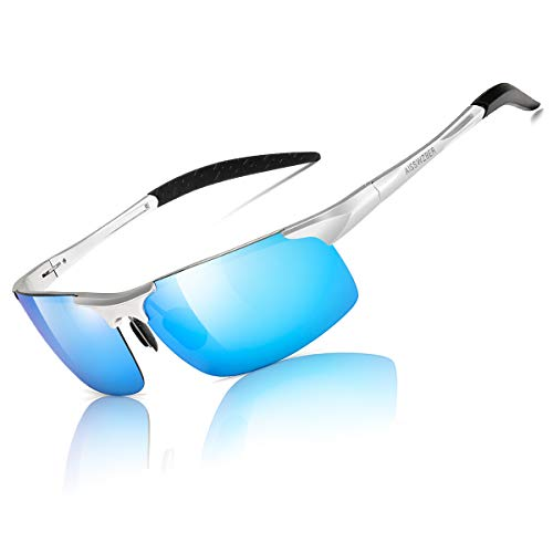 aisswzber Mens Sports Polarized Sunglasses Driving Metal Frame UV Protection Sunglasses for Men 8177