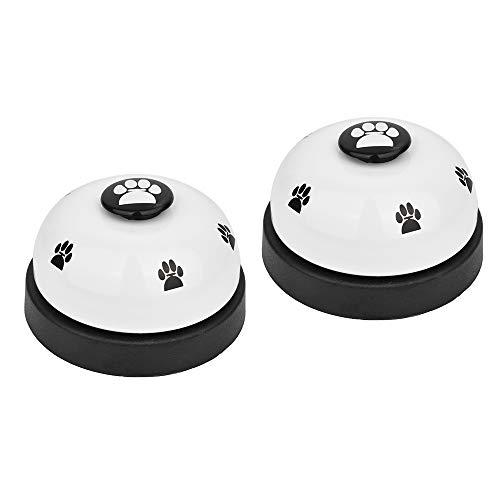 SlowTon - Timbre para mascotas, 2 unidades de metal con parte inferior de goma antideslizante para entrenamiento de perro, anillo transparente, herramienta de comunicación para perros pequeños y gatos (blanco + blanco)