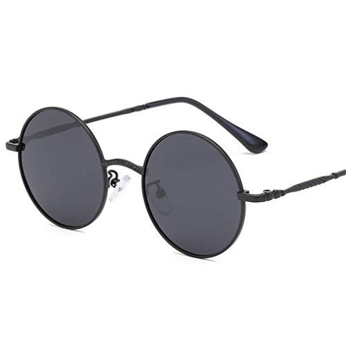 WSDSX Gafas de sol deportivas polarizadas Gafas de sol polarizadas al aire libre Gafas redondas polarizadas con marco de metal UV400, para viajes, pesca, correr, negro