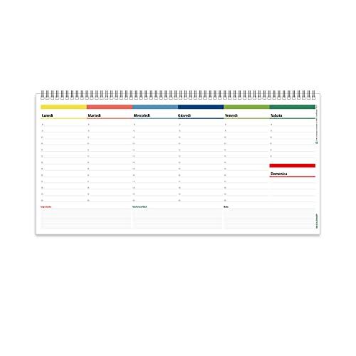 Planning Settimanale da Tavolo SPIRALATO Colors Perpetuo - In Carta ECOLOGICA 100% - Planner Agenda Appuntamenti con Note (32x15,5)