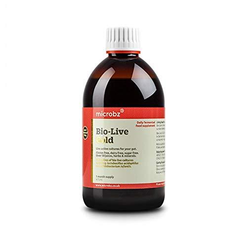 Microbz Bio-Live Gold (475ml) Bio Cultures Probiotic Liquid Supplement - Multi Strain Fermented Liquid Formula with Bio Live Active Natural Cultures for Everyday Oral Use