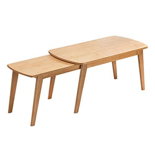 jiji Mesa auxiliar Nordic Creative Retráctil Mesa de café Práctica Mesa auxiliar de bambú ajustable Mesa de té Sala Sofá Mesa de centro (Color: Color primario)