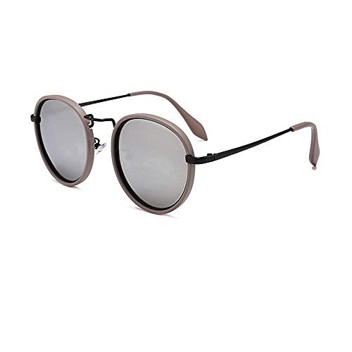 DealMux Gafas De Sol Moda Mujer Polarizadas Espejo Redondo Gafas De Sol De Conducir Gafas De Sol Retro Protección UV400 Gafas De Sol De Ángel De Motor (Color: Gris Plata, Tamaño: Tamaño Libre)