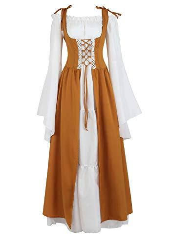 renacentista Vestido Medieval Mujer Vintage Victoriano gotico Manga Larga de Llamarada Disfraz Princesa Amarillo m