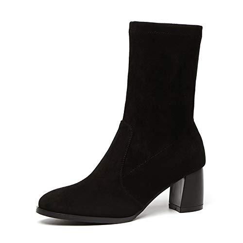 Shukun enkellaarsjes herfst en winter dunne laarzen korte laarzen damesschoenen dik met hoge hakken elastische laarzen sokken laarzen enkele laarzen ronde hoofd