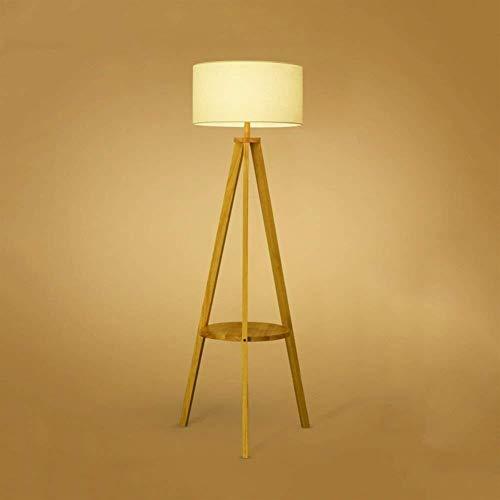 QIDOFAN Lámpara de pie Estantes simples de pie luminarias vertical modernos de madera maciza de pie luminarias for sala de estar Mesa de noche dormitorio Incluye bombilla
