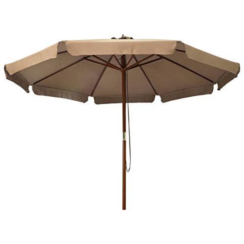 Kshzmoto Sombrilla de jardín con Palo de Madera Parasol para Terraza Jardín Balcón Mástil Protección UV y Impermeable Gris Topo 330 cm