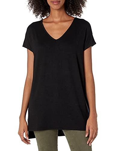 Amazon Brand - Daily Ritual Women's Oversized Cozy Knit Dolman-Sleeve V-Neck Tunic, Black, X-Large