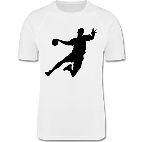 Sport Kind - Handballer - 152 (12/13 Jahre) - Weiß - Handball Trikot Kinder - F350K - atmungsaktives Laufshirt/Funktionsshirt für Mädchen und Jungen