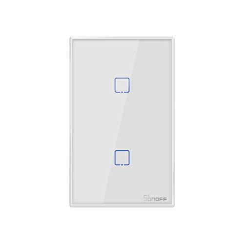 T-Storm - Sonoff T2US2C - 2-gang Wi-Fi Smart Wall Switch US - Bianco