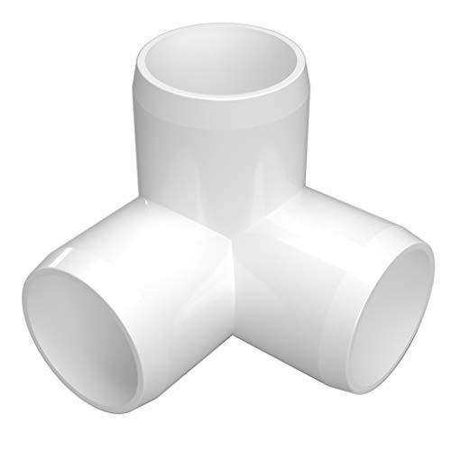 FORMUFIT F1143WE-WH-4 3-Way Elbow PVC Fitting, Furniture Grade, 1-1/4' Size, White (Pack of 4)