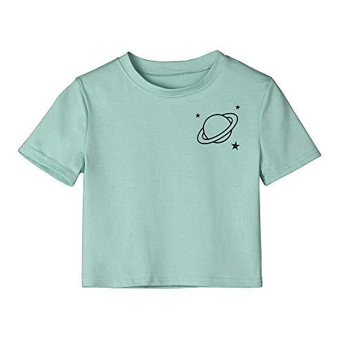 Damen T Shirt, CixNy Bluse Damen Kurzarm Sommer Mode Kurzarm Planet gestreift lässig O Hals...