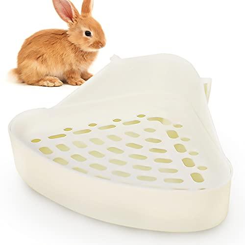Lvjkes Orinal de Conejito, Orinal para Mascotas, Potty Potty Triángulo Durable Plástico Fácil de Limpiar Potty Formación para Hamster Chinchilla Conejo Guinea Conejillo (Blanco)